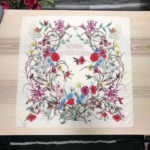 Dora Boutique Accessories - BOUTIQUE Silk Scarf Floral Flower Blooming